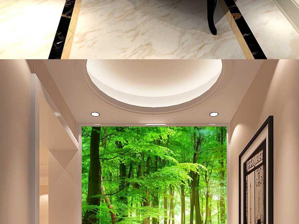 木桥绿色森林风景3d玄关