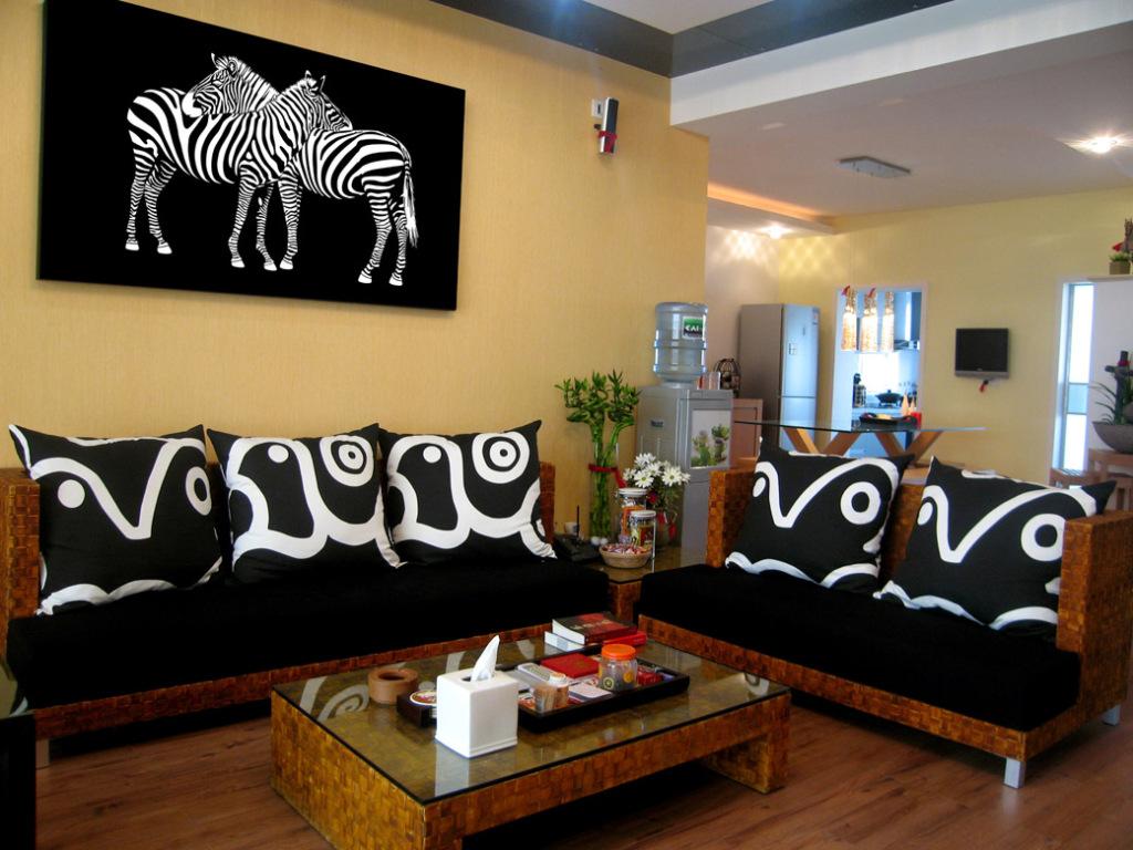 客厅斑马素描图案装饰挂画
