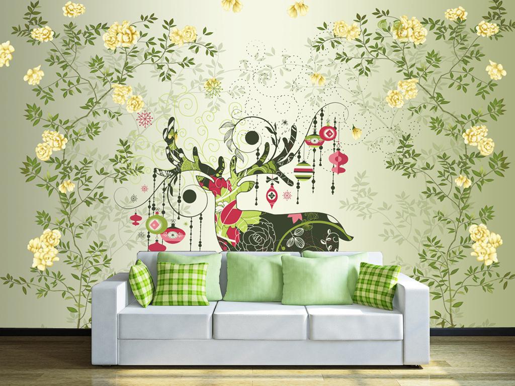 花树麋鹿手绘电视背景墙