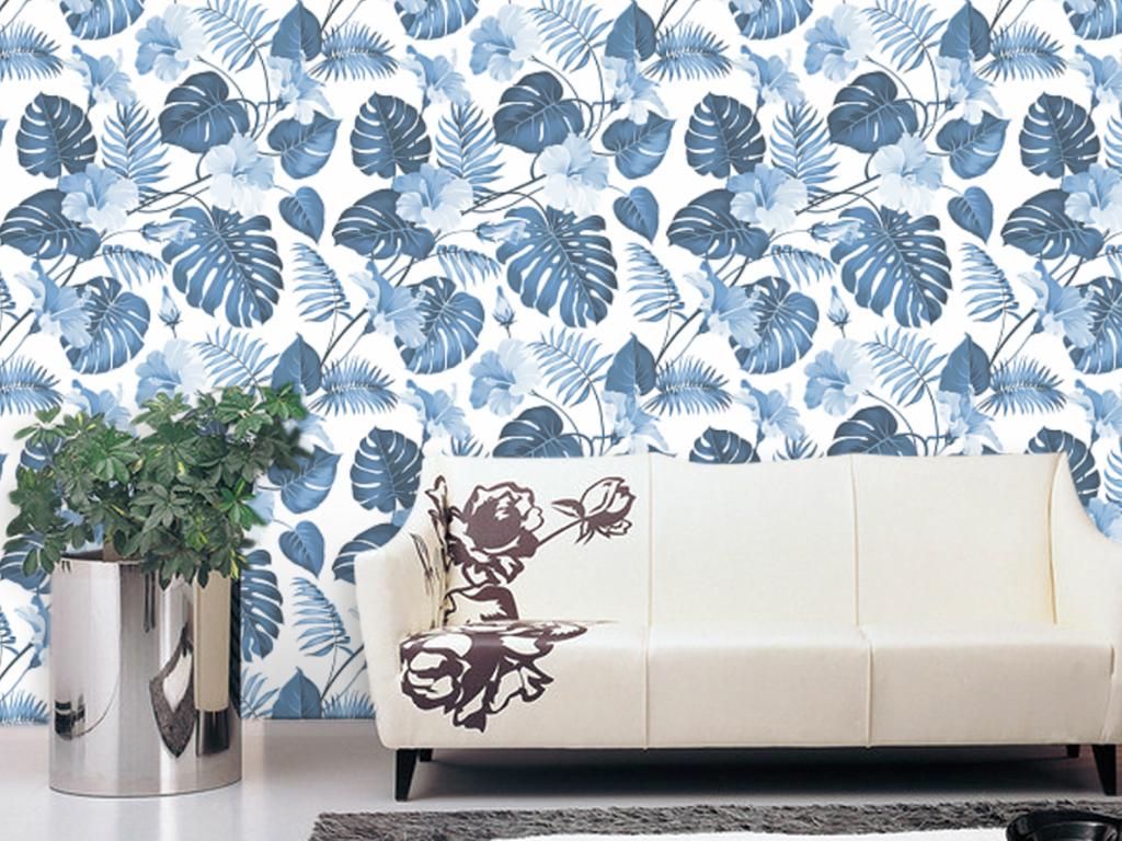 手绘热带雨林植物树叶墙纸v8