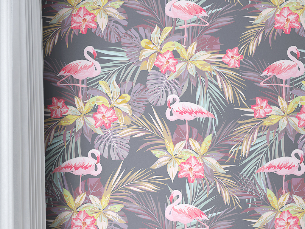 手绘热带雨林植物树叶墙纸v9