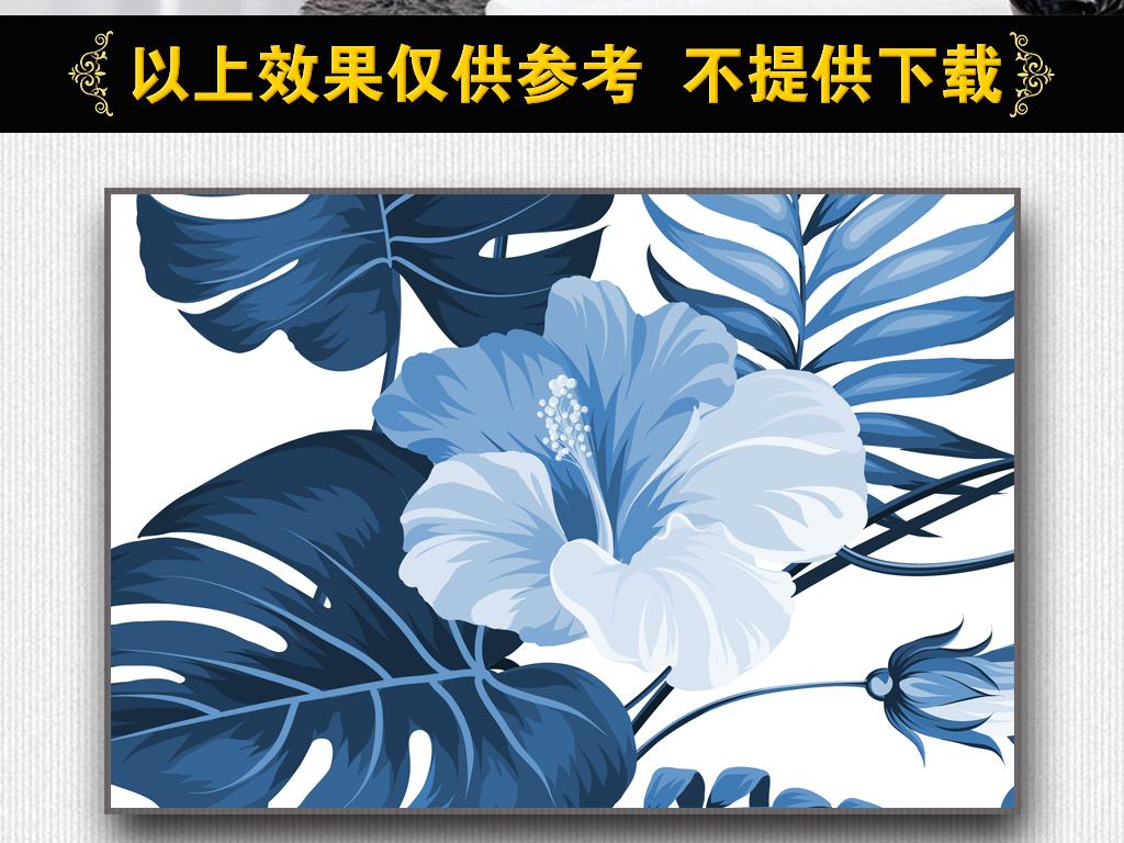 手绘热带雨林植物树叶墙纸v10