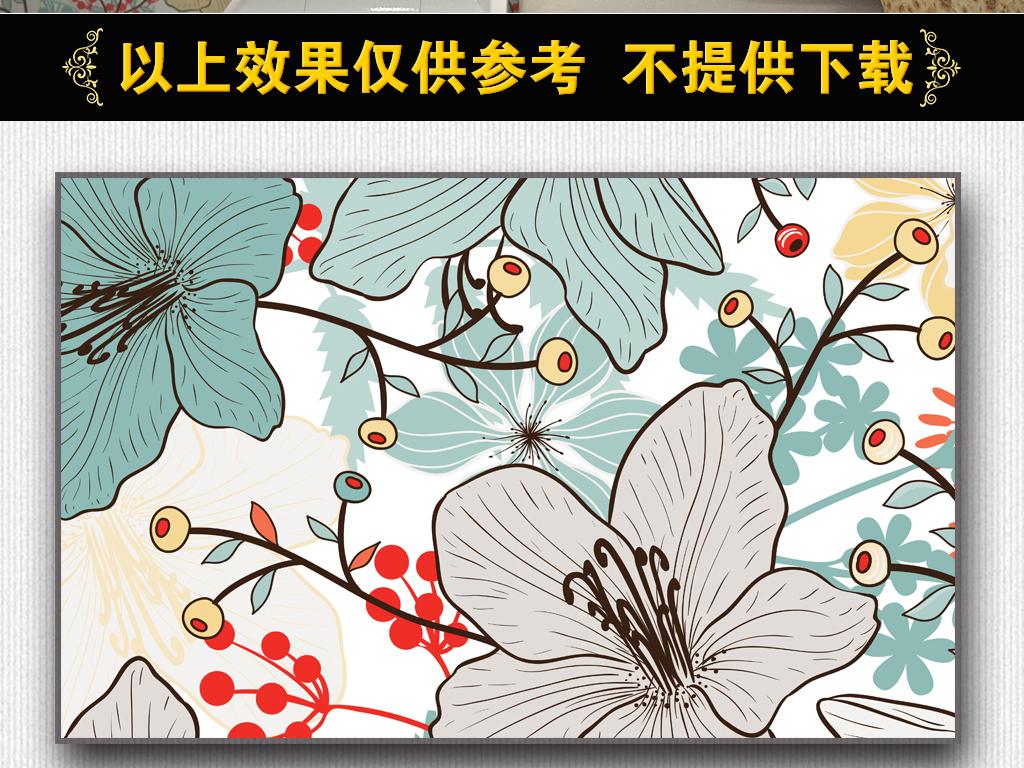 手绘热带雨林植物树叶墙纸v12