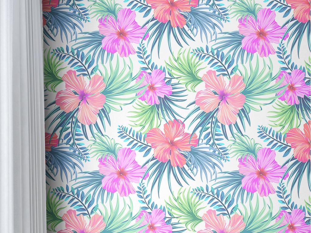 手绘热带雨林植物树叶墙纸v15