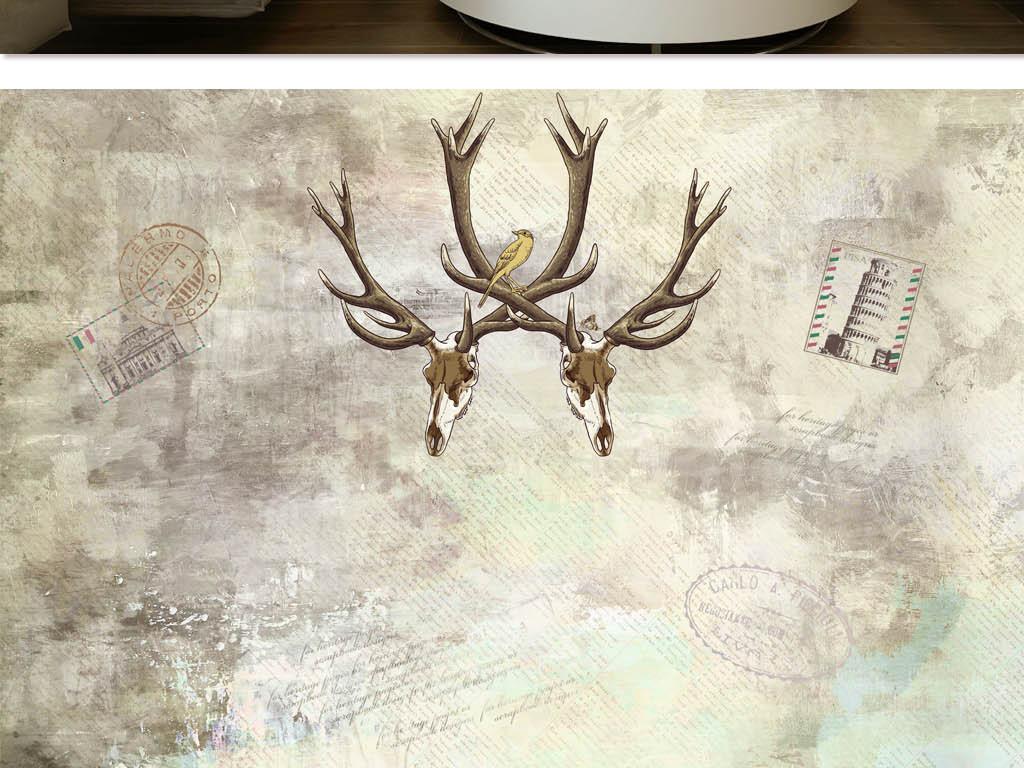 复古怀旧鹿头手绘背景墙