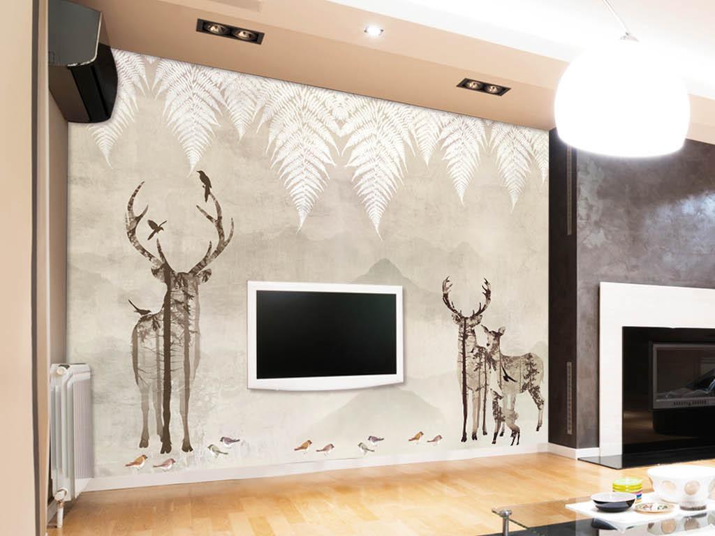 床头背景墙美式欧式简欧                                  插画手绘