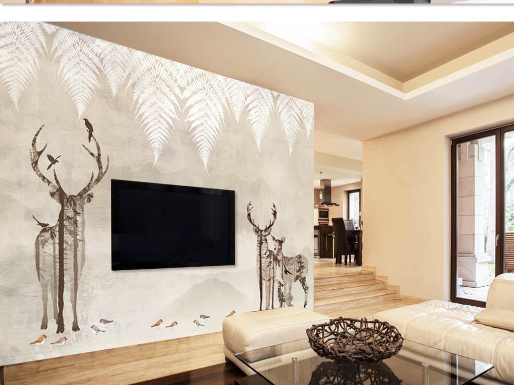 美式复古鹿林背景墙(图片编号:15634943)_美式背景墙图片