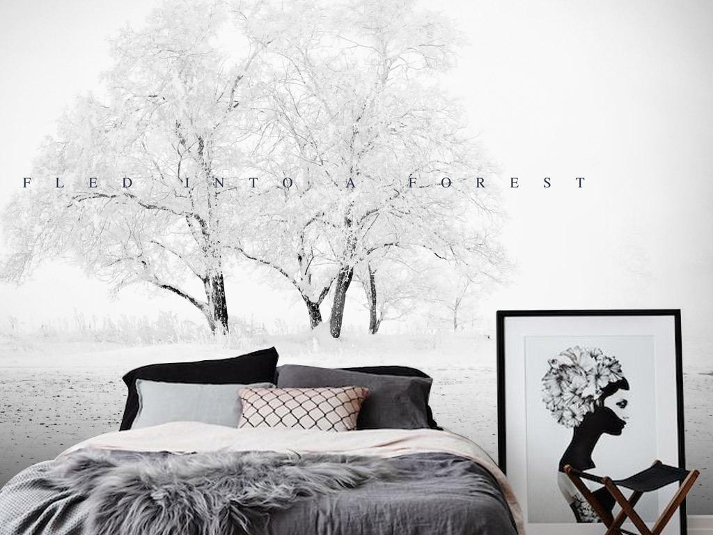 冬天麋鹿图片手绘