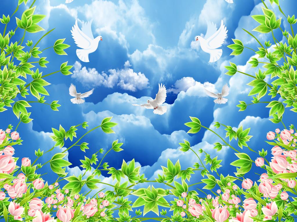 天花板背景墙顶棚立体吊顶天空地板树枝天空蓝天白云天顶欧式天顶壁画图片