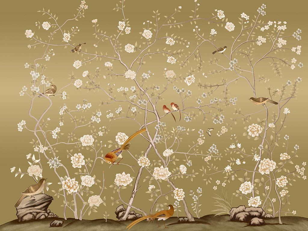 中式花鸟中国风花开富贵花鸟玉兰花彩雕古典手绘背景墙壁画壁纸图片