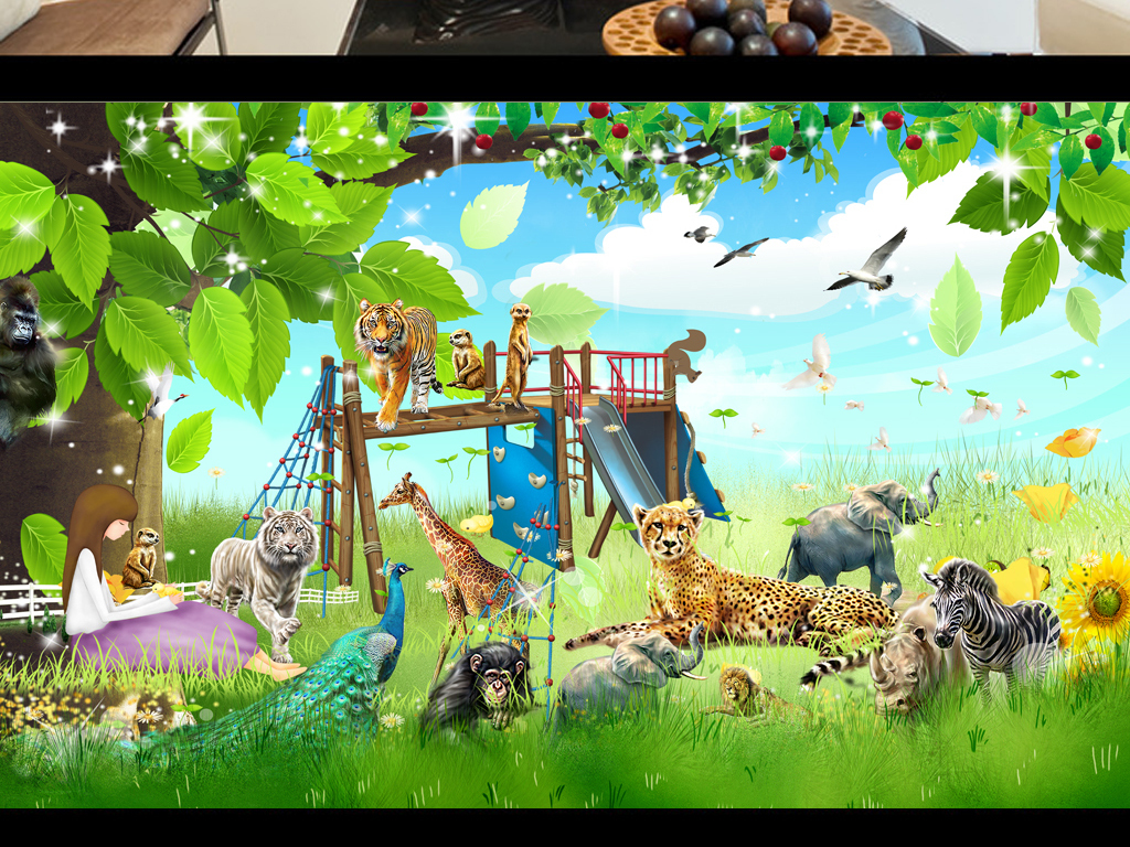 3d卡通儿童房唯美儿童房墙画