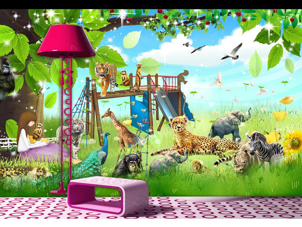 手绘3d画动物墙画