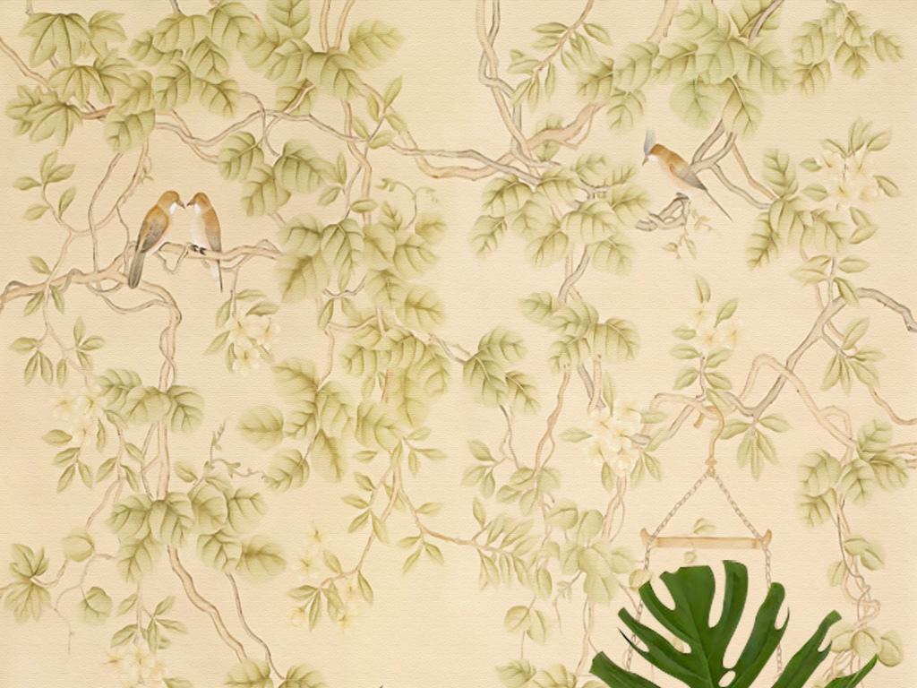 欧式手绘工笔花鸟花藤孔雀新中式壁画玄关