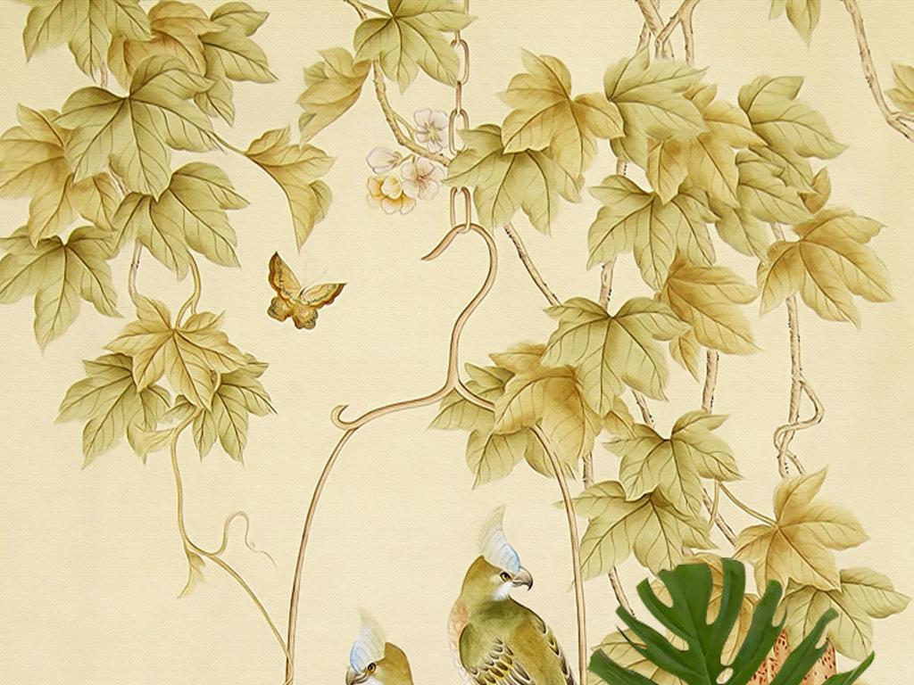 欧式手绘工笔花鸟鹦鹉蝴蝶新中式壁画玄关