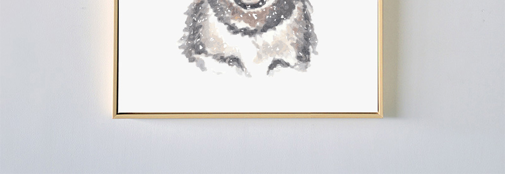 有趣的动物装饰画卧室沙发书房儿童房卡通猫萌宠萌萌哒动物图案北欧