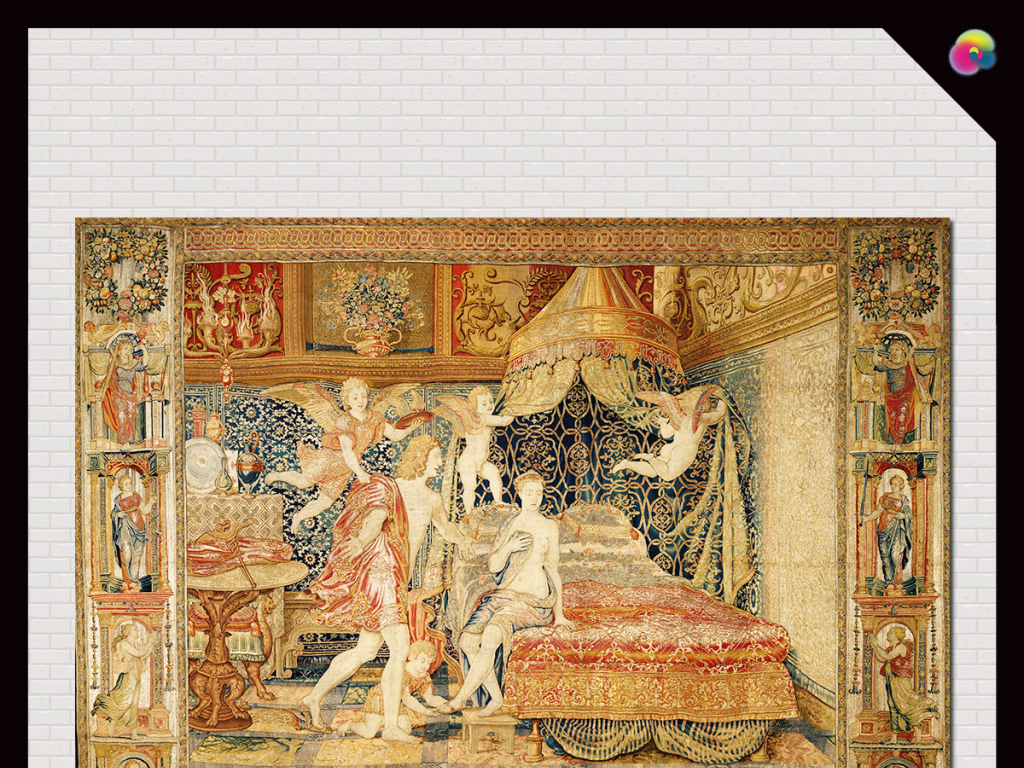 高清手绘欧式古典宫廷裸女油画电视背景墙