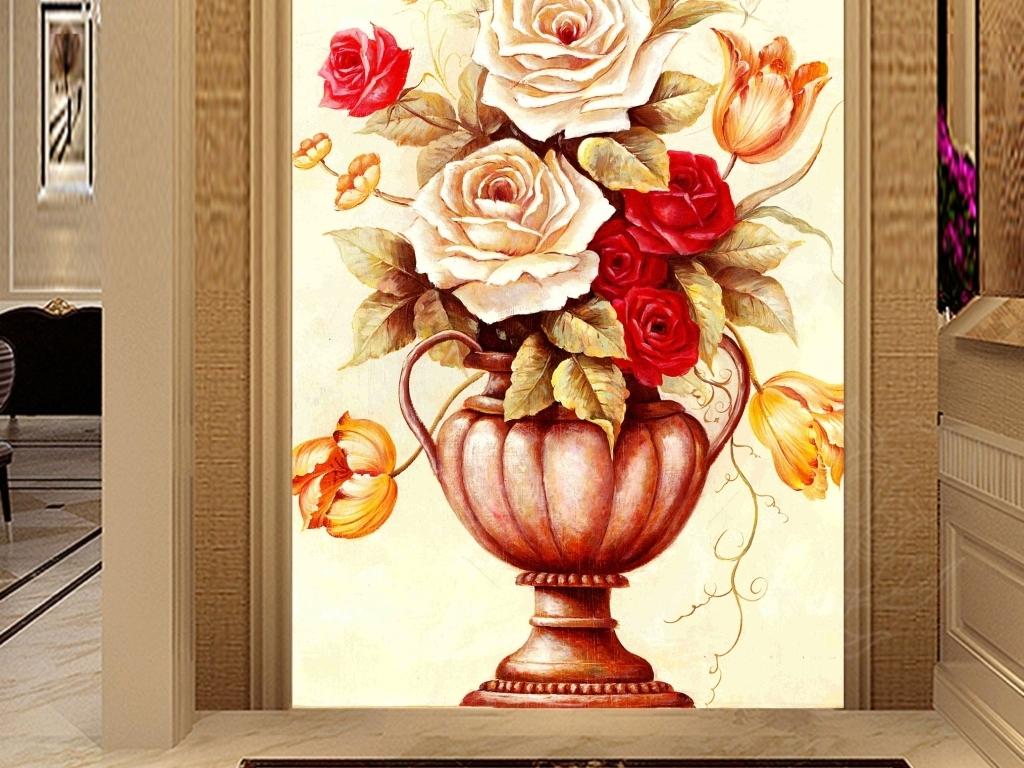 家和富贵油画手绘花瓶玄关装饰画