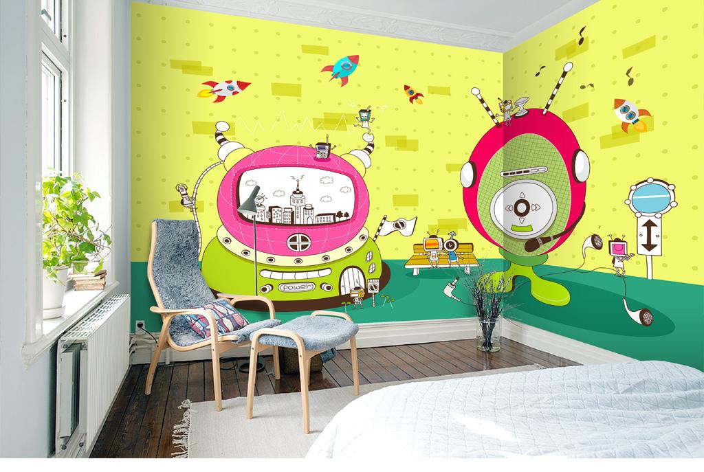 手绘卡通漫画机器人背景墙壁画