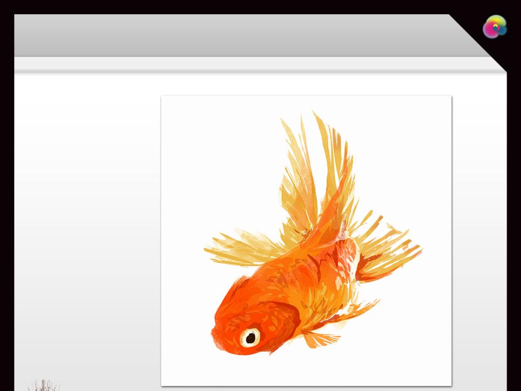 高清手绘金鱼水彩画电视背景墙