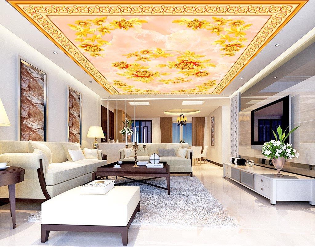 精美欧式手绘花朵天花吊顶地毯壁画