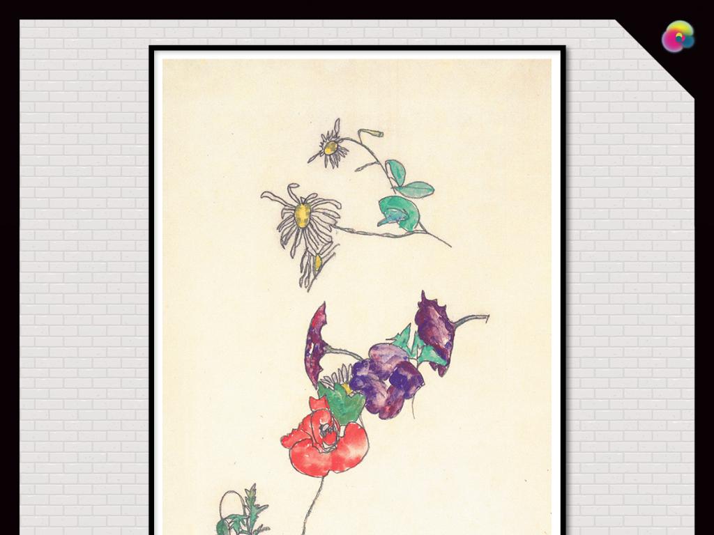 手绘简约小清新北欧宜家植物花鸟装饰画