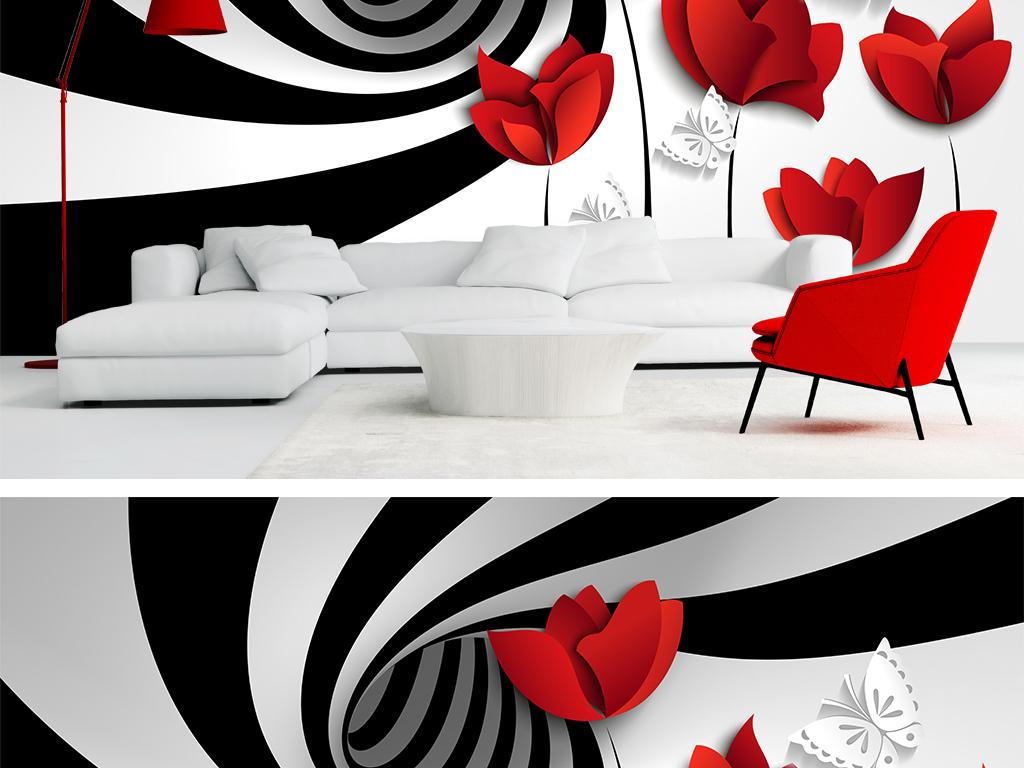 3d立体现代简约黑白条纹手绘花卉背景墙