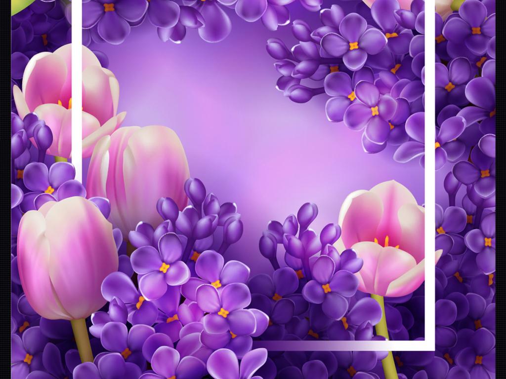手绘水彩唯美花环素材