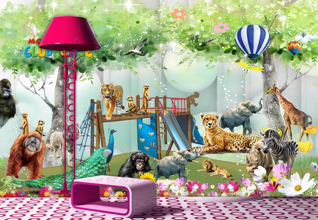 动物王国动物总动员唯美儿童房壁画