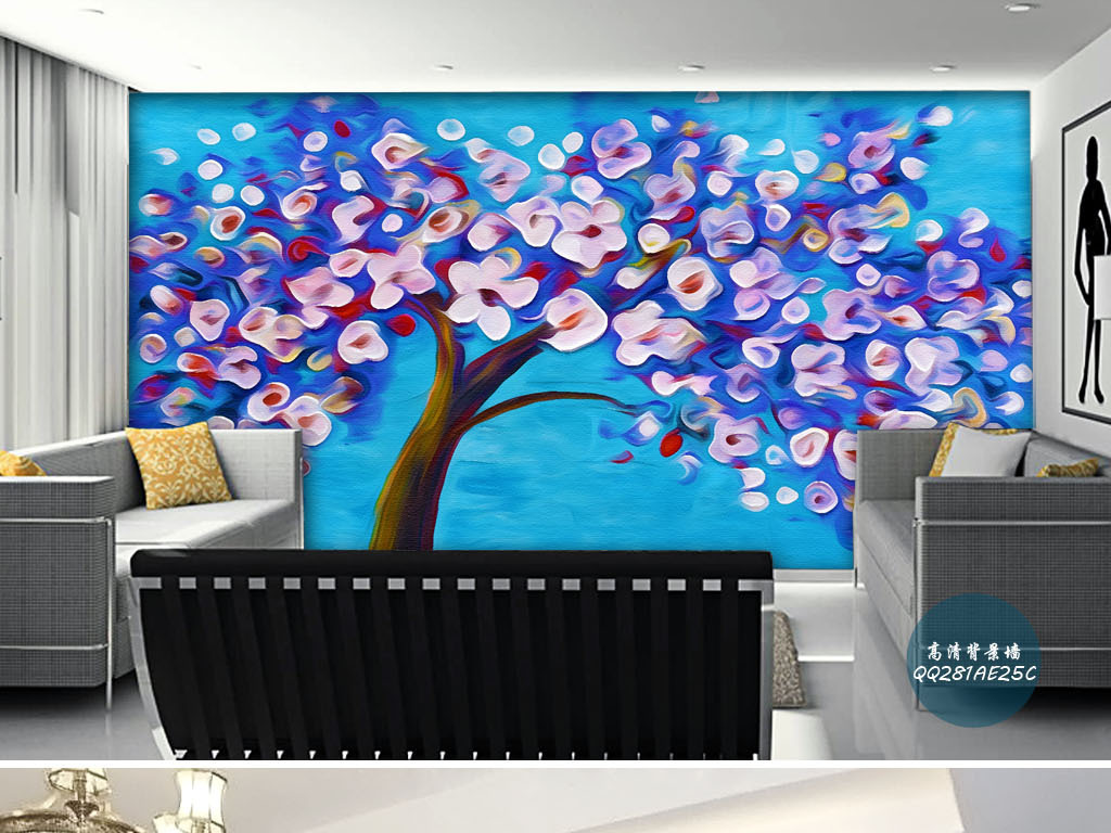 樱花开满枝头抽象树手绘欧式客厅背景墙壁画