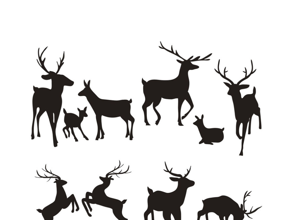 梅花鹿矢量素材手绘鹿