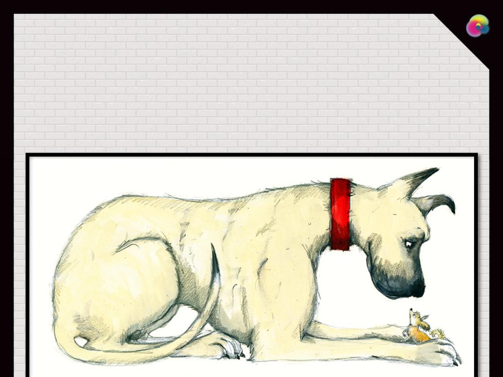 北欧手绘复古小狗无框画