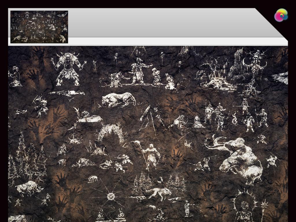 手绘原始动物壁画电视背景墙