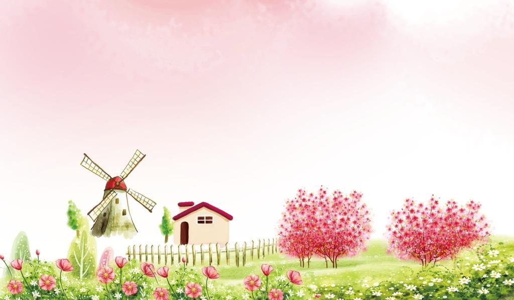 唯美手绘画粉红底图鲜花盛开风车