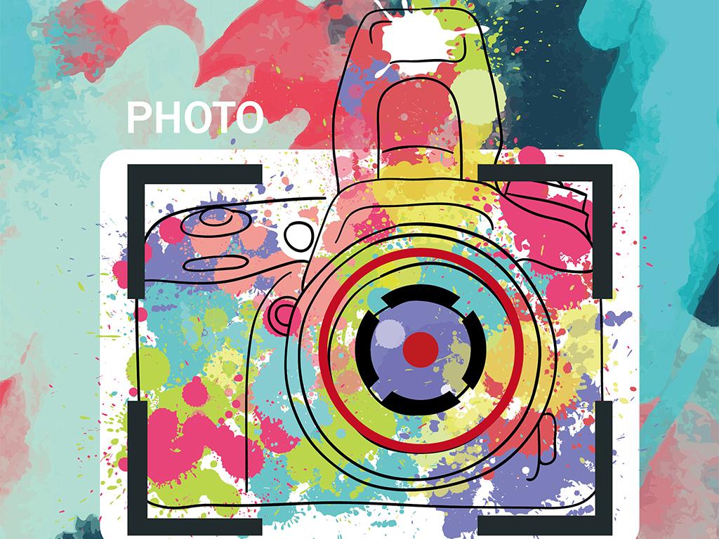 喷溅墨迹创意矢量摄影协会招新海报模板