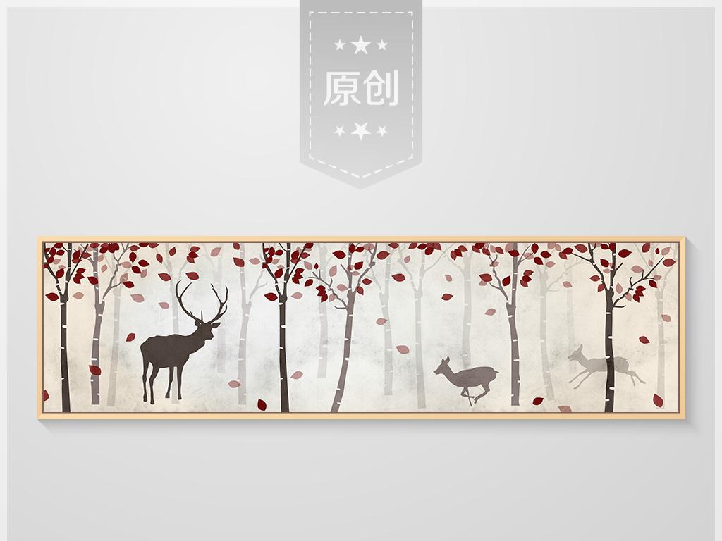 麋鹿手绘图片 迷幻