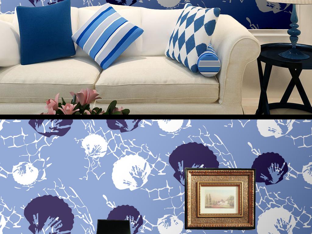 蓝色手绘水墨花瓣墙纸背景墙