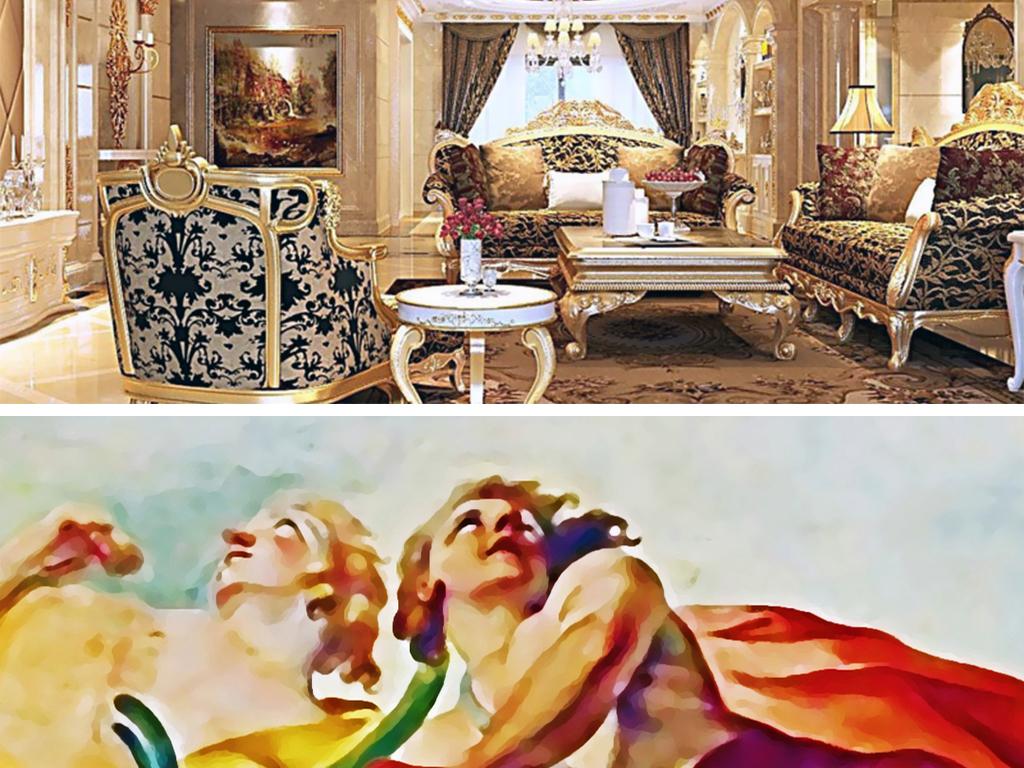 花天顶油画欧式天顶油画天顶壁画吊顶图中式天顶壁画