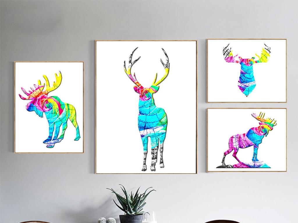 麋鹿图片手绘高清