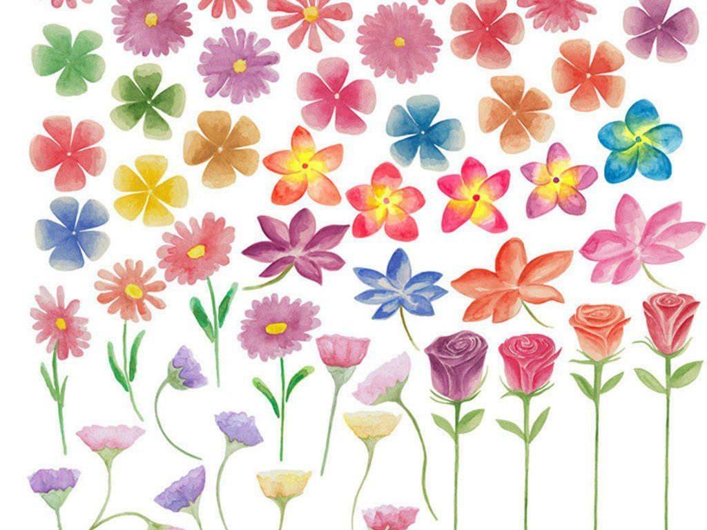 花朵元素png免扣手绘水彩水粉素材