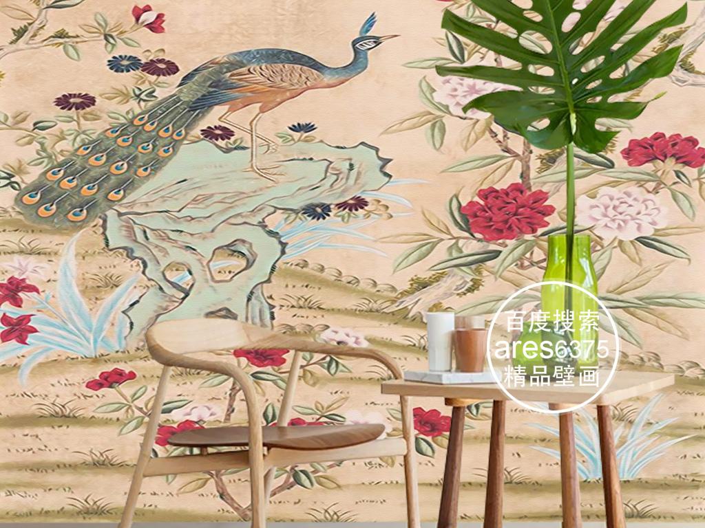 欧式手绘花鸟孔雀牡丹花卉新中式壁画玄关