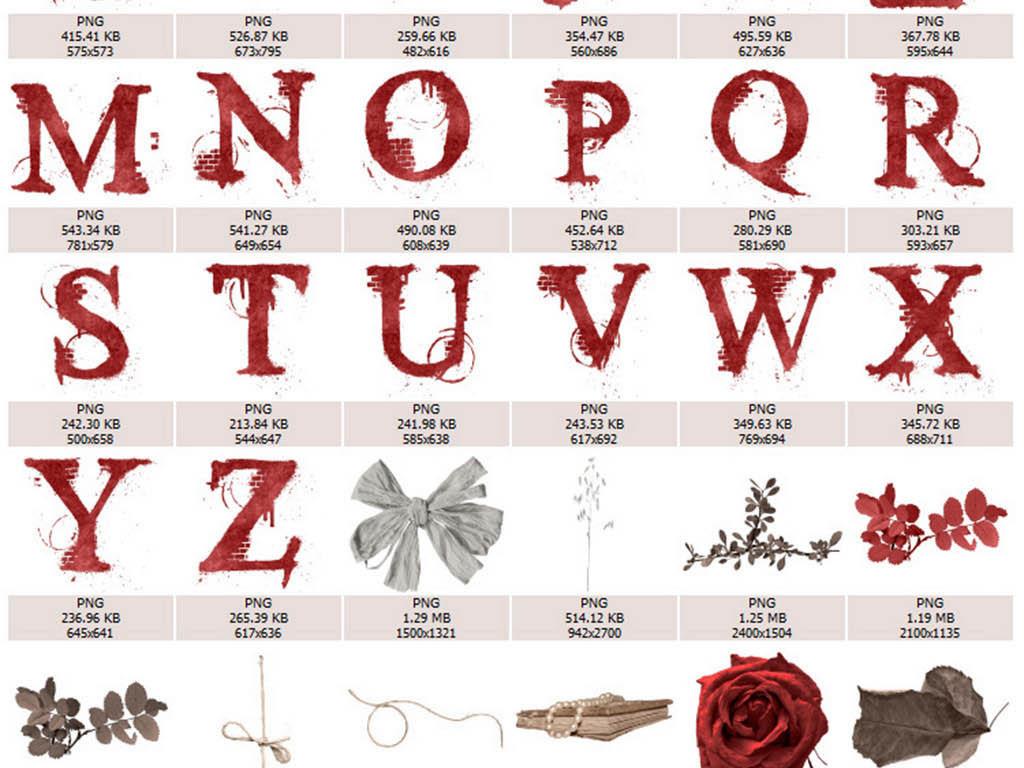 欧式复古怀旧夏洛克立体花卉古铜色字母素材