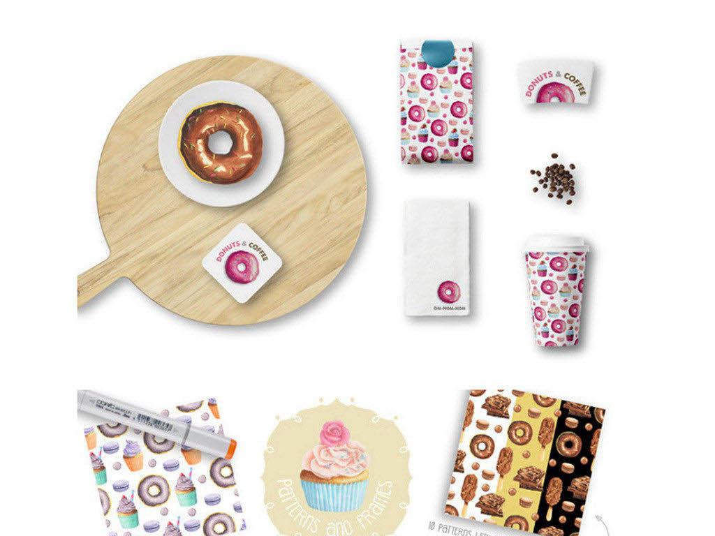 高清甜点冰激凌甜甜圈手绘png素材