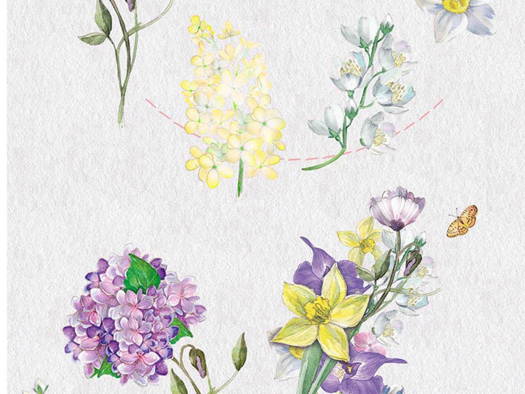 黄色小花蝴蝶蜻蜓手绘水彩png免扣素材