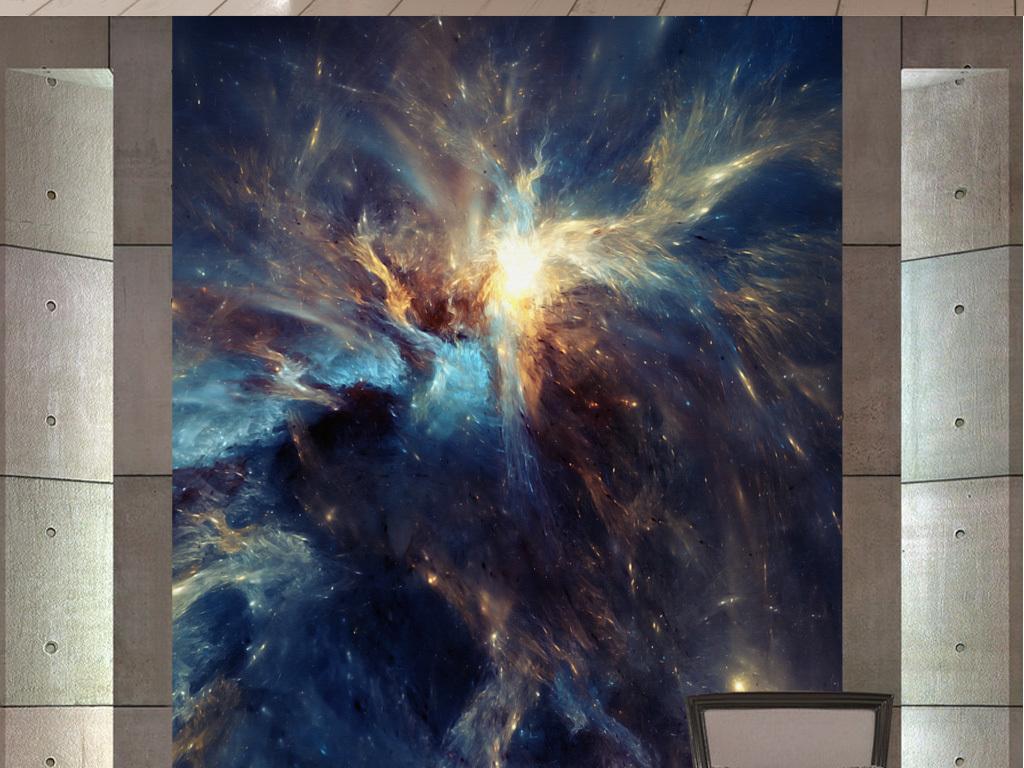 欧式抽象手绘炫天空玄关