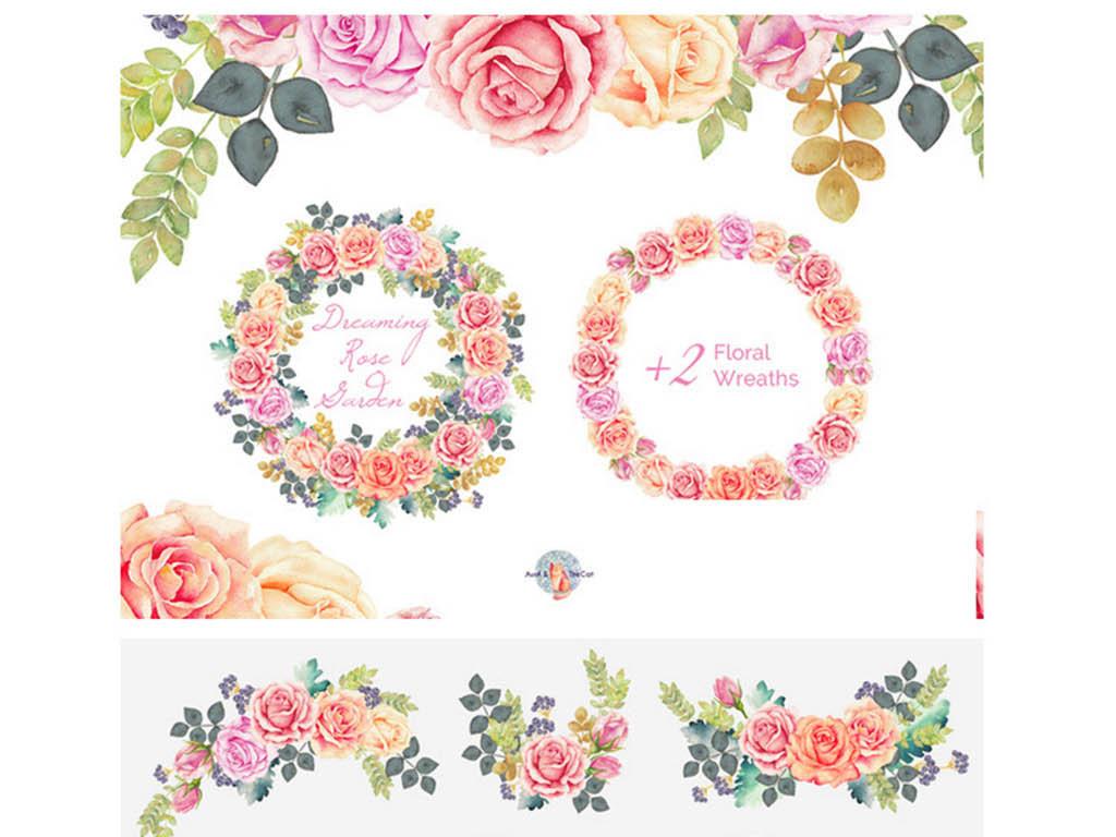 梦幻玫瑰园水彩手绘水粉花环png免扣素材