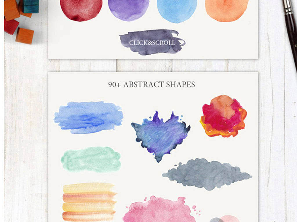 平面|广告设计 其他 设计素材 > 手绘水粉痕迹颜料晕染线条花朵png免