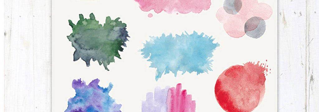 手绘水粉痕迹颜料晕染线条花朵png免扣素