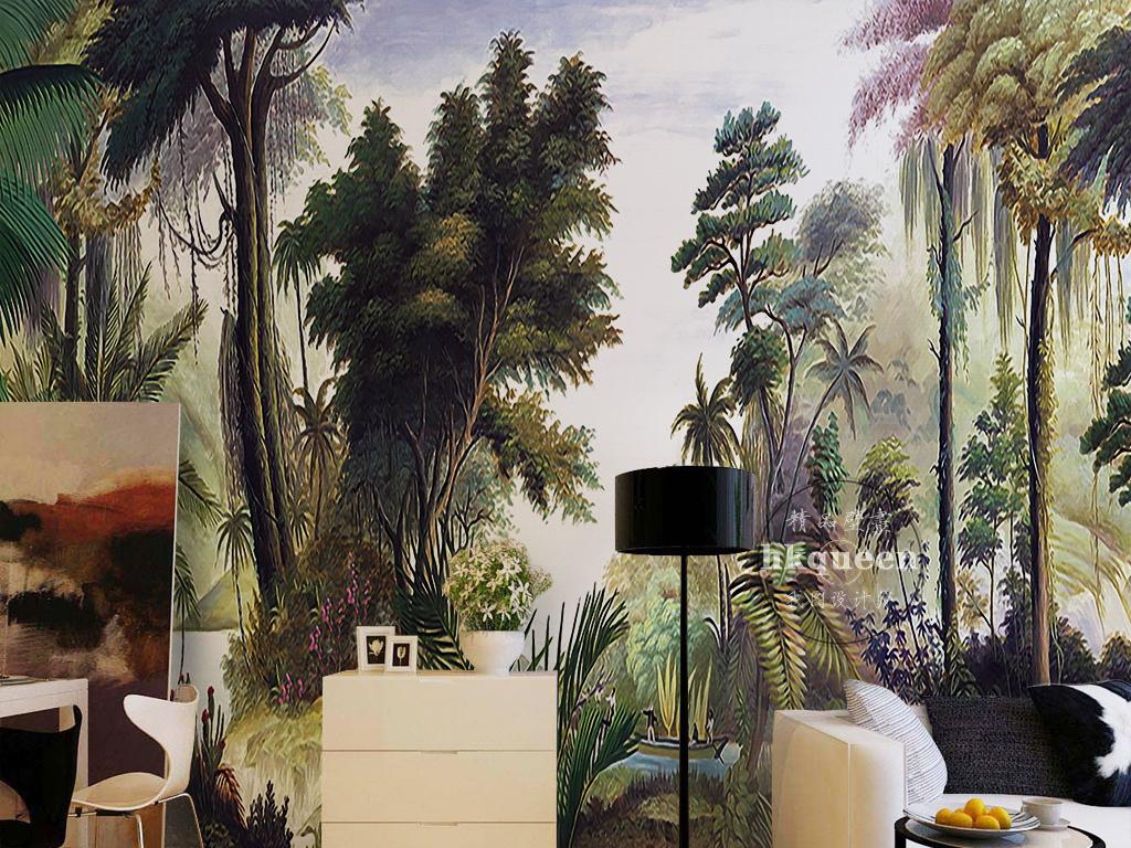 北欧简约绿色植物热带雨林椰树芭蕉背景墙