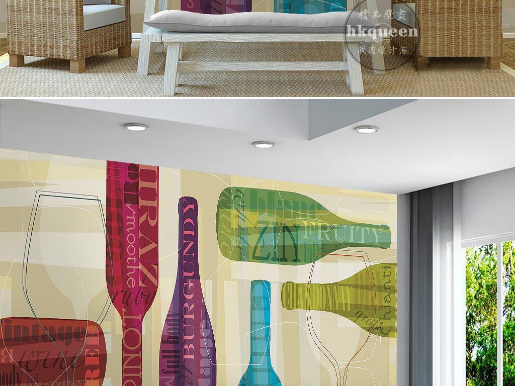 现代简约电视背景墙 > 现代简约时尚抽象几何图形红酒瓶手绘背景墙