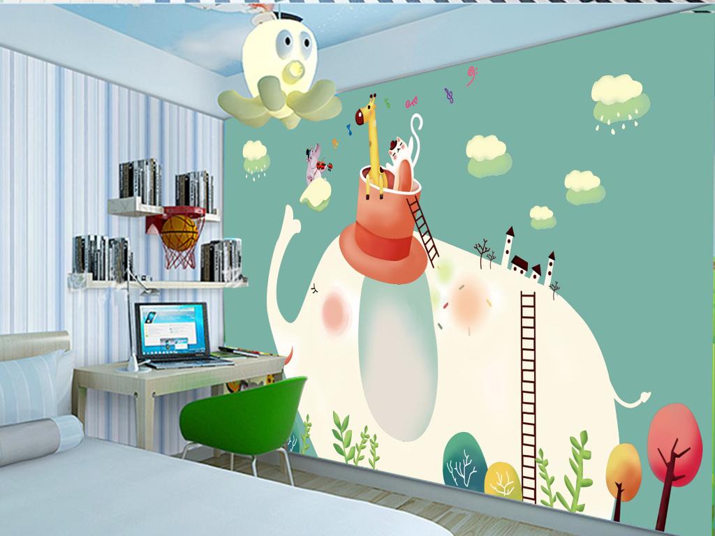 木桩小女孩高清电视背景墙装饰画国王木车木屋创意艺术手绘海报手绘